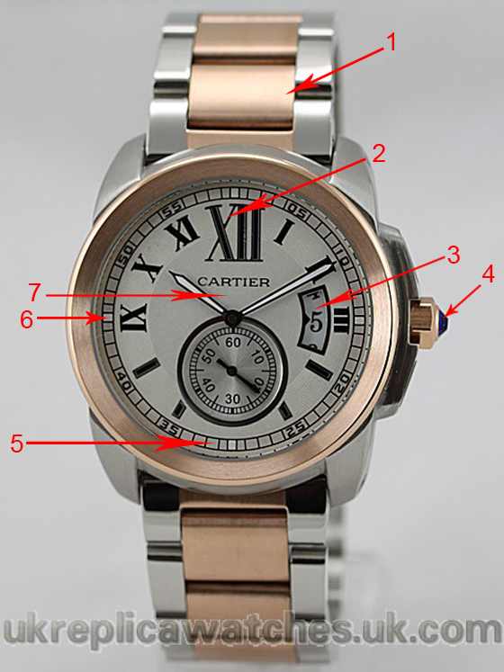 Reviewing The Perfect Replica Cartier Calibre de Cartier Rose Gold and Steel Watch Ref.W7100036