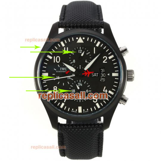 Top Swiss IWC Pilot's Top Gun Double Chronogrpah Replica Watch Ref.IW3799-01