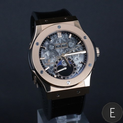 Reviewing The Best Hublot Classic Fusion Aero Moon Skeleton Rose Gold Replica Watch