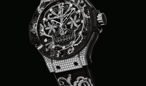 Hublot Big Bang Broderie All Black and Yellow Gold Diamonds Copy Watch