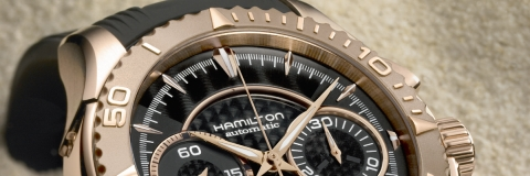 Presenting The Rose Gold Hamilton Seaview AutoChrono Chronograph Diving Watch Replica