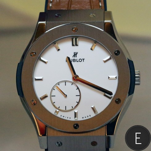 Ultra-Thin Hublot Classic Fusion Titanium White Shiny Dial Replica Watch