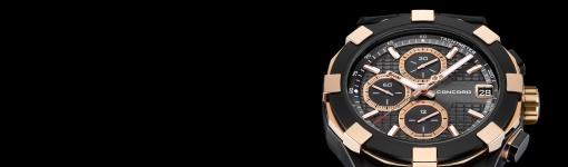 Concord C1 Chronograph Black& Gold Watch Replica (Ref. 0320227)