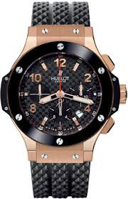 18ct Rose Gold Case Ceramic Bezel Hublot Big Bang Chronograph 44mm Watch Replica For Men
